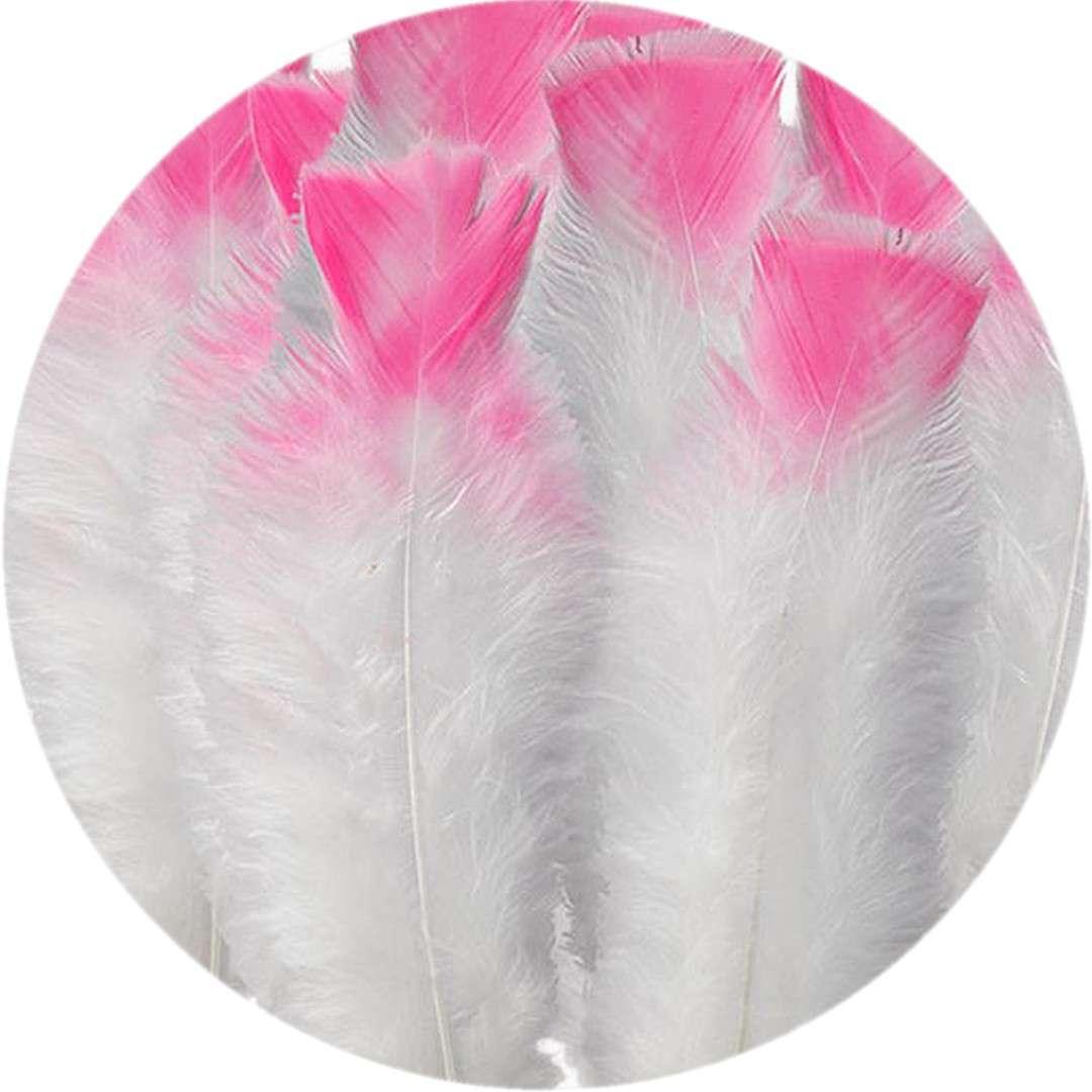 """Piórka dekoracyjne """"Ombre"""", biało-różowe, Titanum, 15 szt"""