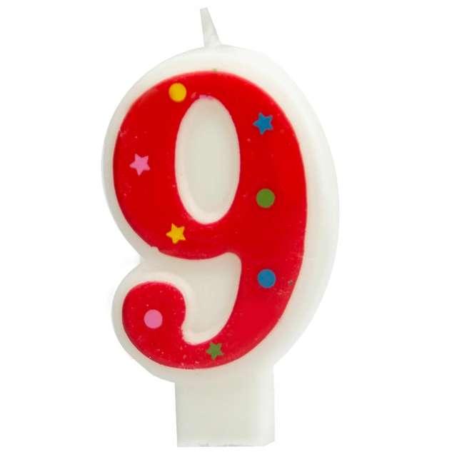 """Świeczka """"Cyfra 9 w gwiazdki"""", Partypal, czerwona, 8 cm"""
