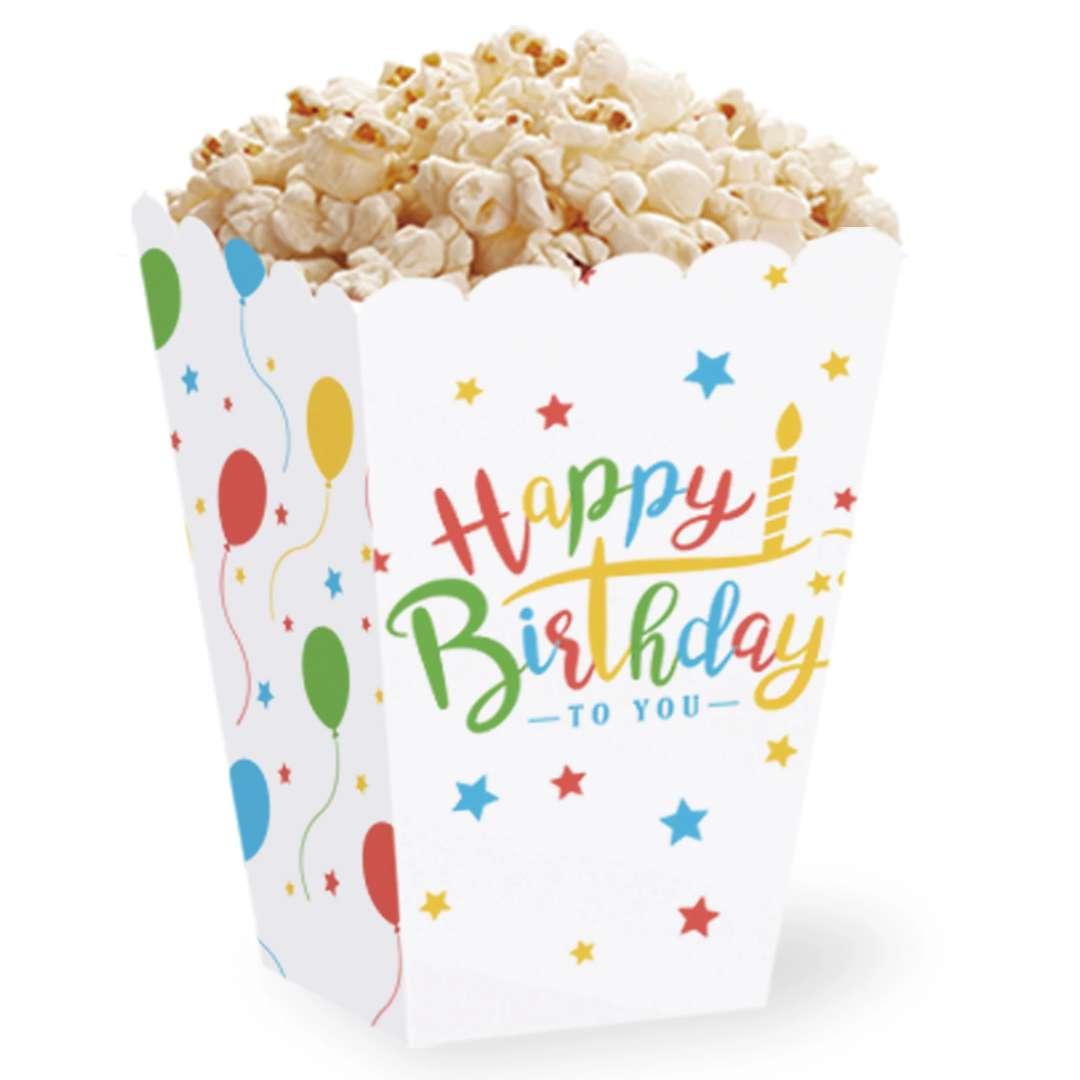 "Pudełka na popcorn ""Happy Birthday"", PartyPal, 6 szt"