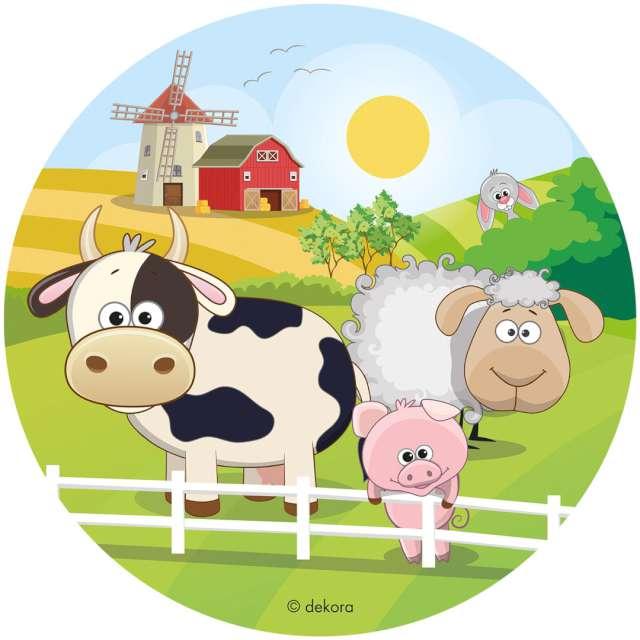 """Dekoracja tortu - opłatek bc """"Zwierzęta na farmie"""", 20 cm, Dekora"""