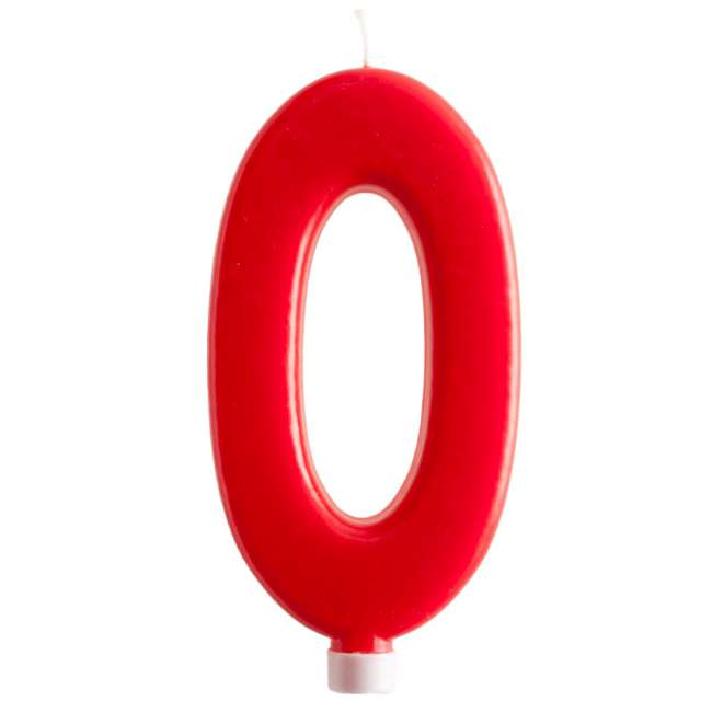 """Świeczka """"Cyfra 0 - Giant"""", Dekora, czerwona, 15 cm"""
