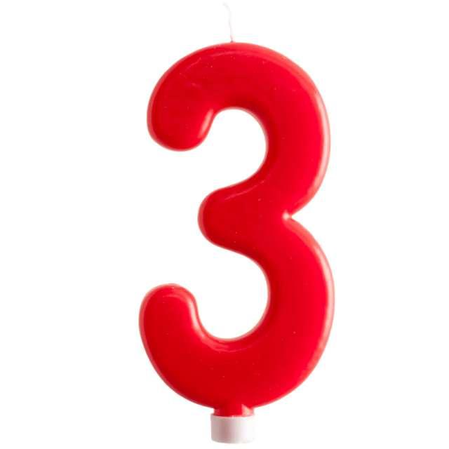"""Świeczka """"Cyfra 3 - Giant"""", Dekora, czerwona, 15 cm"""