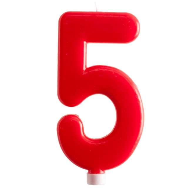 """Świeczka """"Cyfra 5 - Giant"""", Dekora, czerwona, 15 cm"""