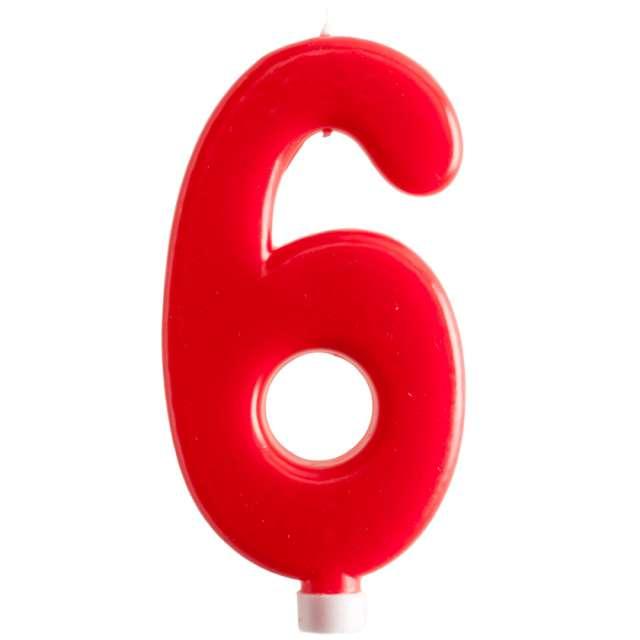 """Świeczka """"Cyfra 6 - Giant"""", Dekora, czerwona, 15 cm"""