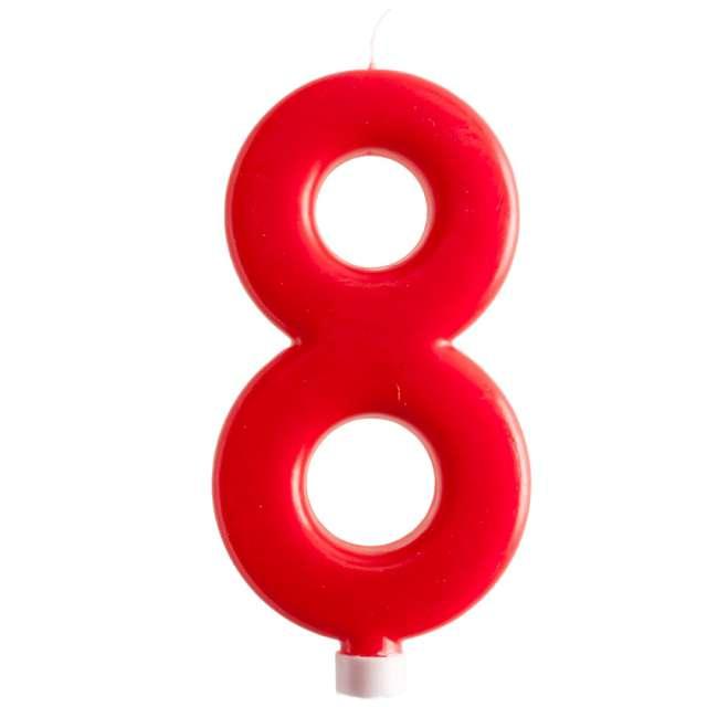 """Świeczka """"Cyfra 8 - Giant"""", Dekora, czerwona, 15 cm"""
