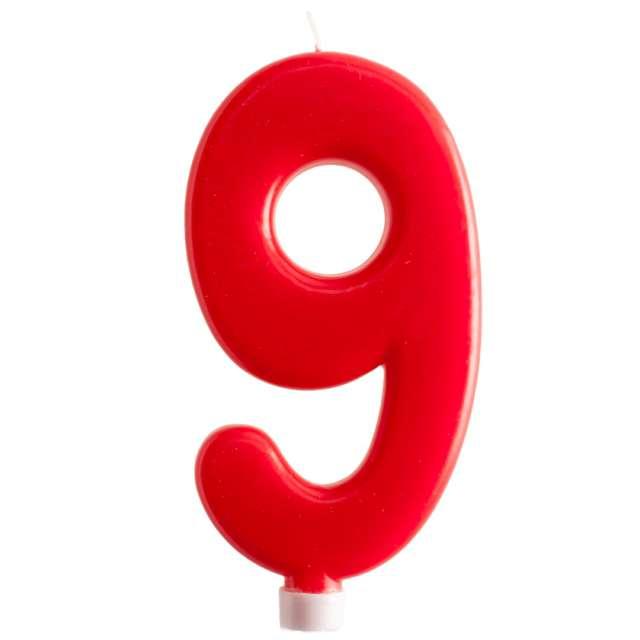 """Świeczka """"Cyfra 9 - Giant"""", Dekora, czerwona, 15 cm"""