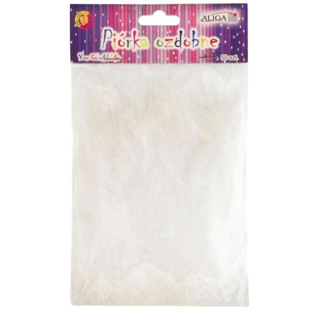 """Piórka dekoracyjne """"Classic"""", białe, Aliga, 10-12 cm, 50 szt"""