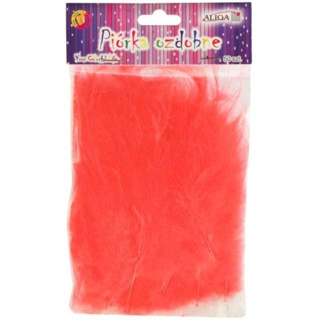 """Piórka dekoracyjne """"Classic"""", czerwone jasne, Aliga, 10-12 cm, 50 szt"""