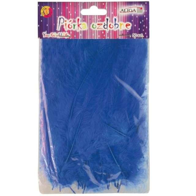 """Piórka dekoracyjne """"Classic"""", niebieskie, Aliga, 10-12 cm, 50 szt"""