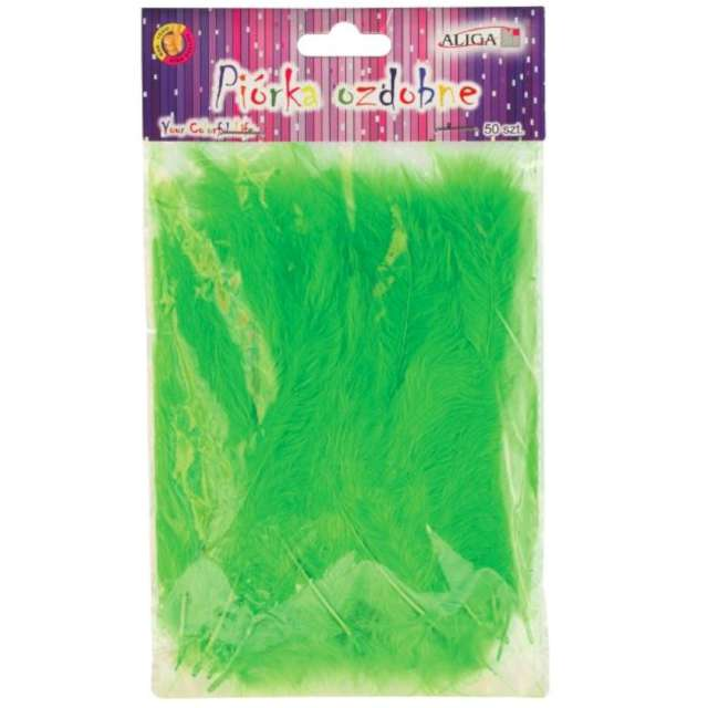 """Piórka dekoracyjne """"Classic"""", zielone, Aliga, 10-12 cm, 50 szt"""