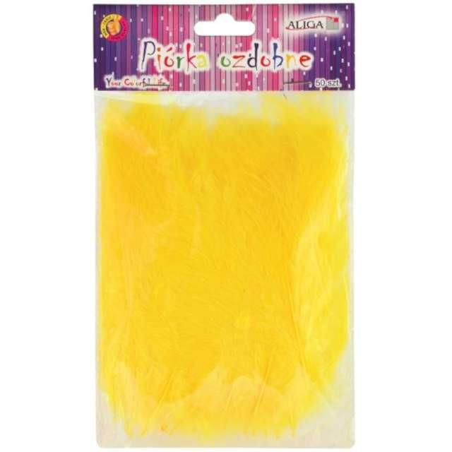 """Piórka dekoracyjne """"Classic"""", żółte, Aliga, 10-12 cm, 50 szt"""