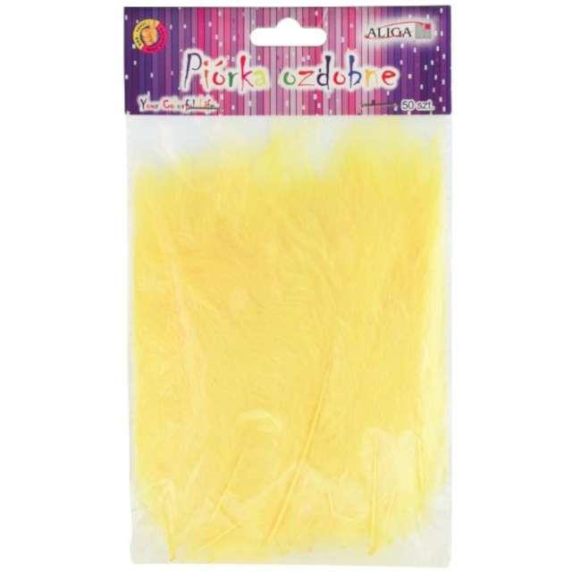 """Piórka dekoracyjne """"Classic"""", żółte jasne, Aliga, 10-12 cm, 50 szt"""