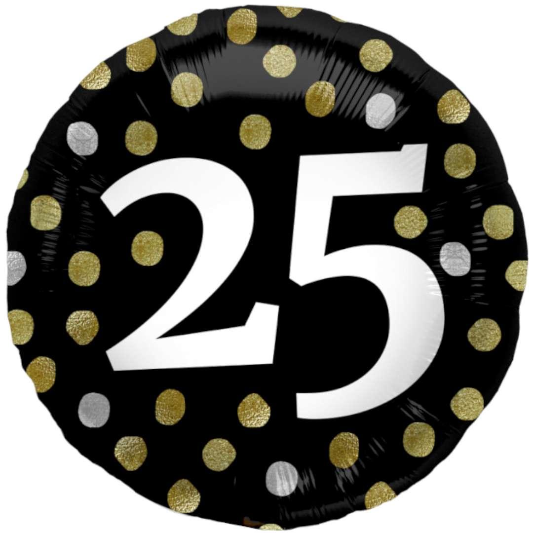 """Balon foliowy """"Glossy - 25 Urodziny"""", czarne, Folat, 17"""", RND"""