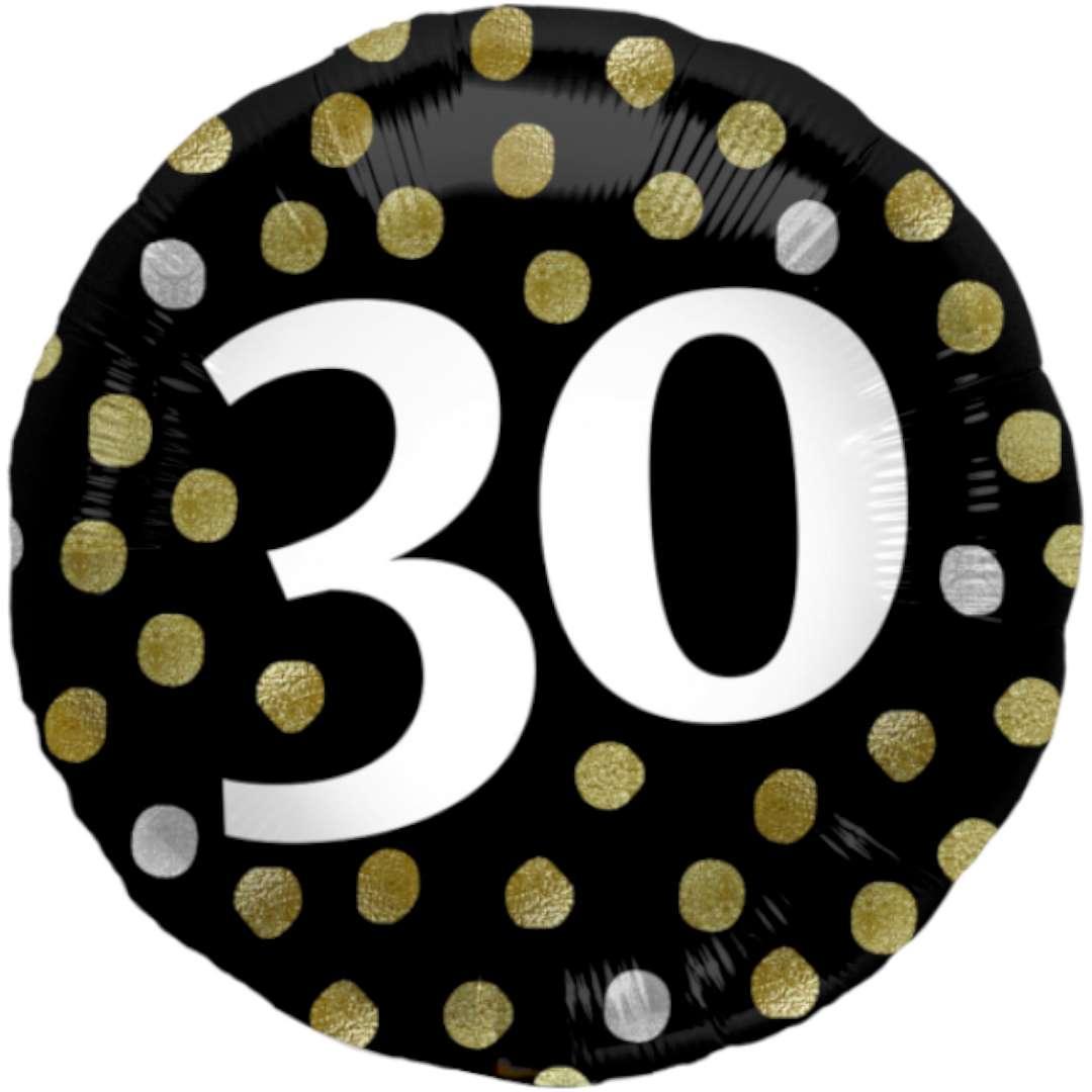 """Balon foliowy """"Glossy - 30 Urodziny"""", czarne, Folat, 17"""", RND"""