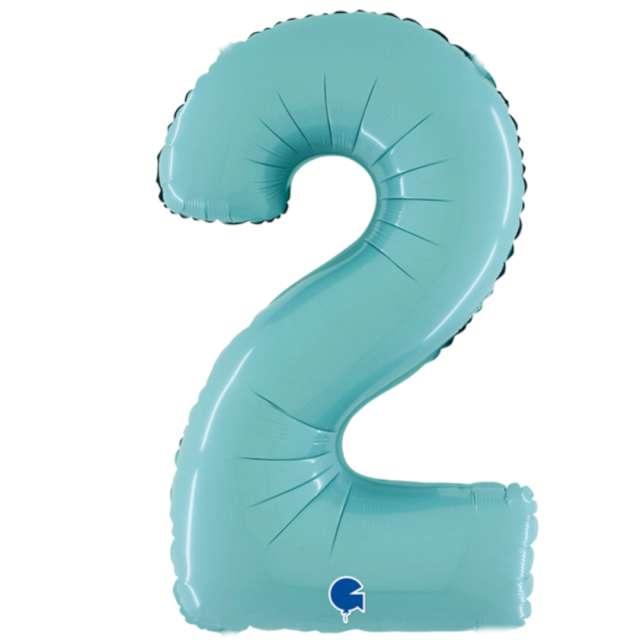 """Balon foliowy """"Cyfra 2"""", niebieski pastel, Grabo, 26"""""""