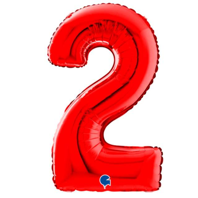 """Balon foliowy """"Cyfra 2"""", czerwony, Grabo, 26"""""""