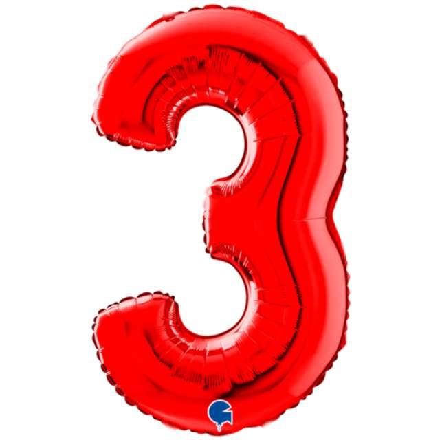"""Balon foliowy """"Cyfra 3"""", czerwony, Grabo, 26"""""""