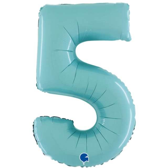 """Balon foliowy """"Cyfra 5"""", niebieski pastel, Grabo, 26"""""""