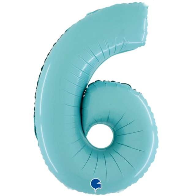 """Balon foliowy """"Cyfra 6"""", niebieski pastel, Grabo, 26"""""""