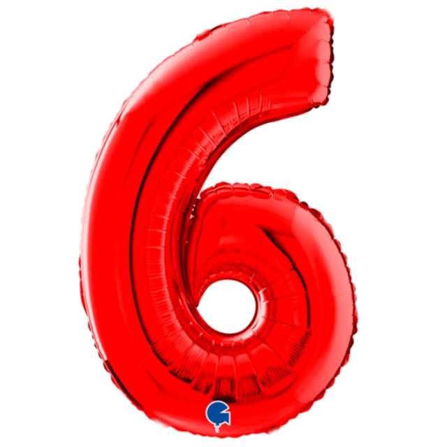 """Balon foliowy """"Cyfra 6"""", czerwony, Grabo, 26"""""""