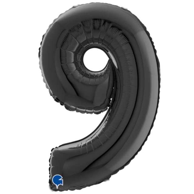 """Balon foliowy """"Cyfra 9"""", czarny, Grabo, 26"""""""