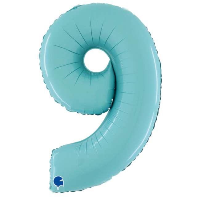 """Balon foliowy """"Cyfra 9"""", niebieski pastel, Grabo, 26"""""""