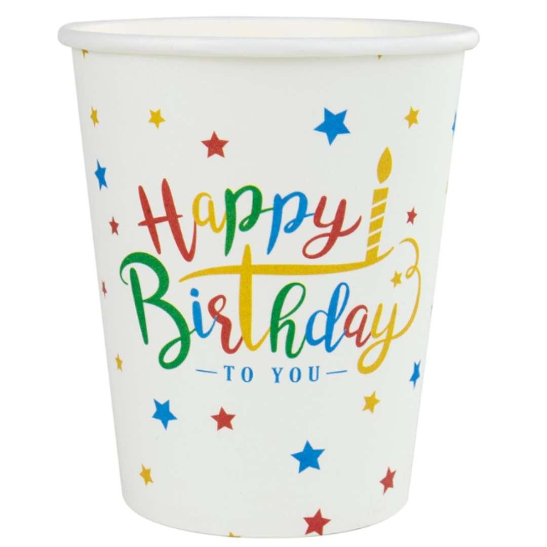 """Kubeczki papierowe """"Happy Birthday"""", Czakos, 180 ml, 6 szt"""