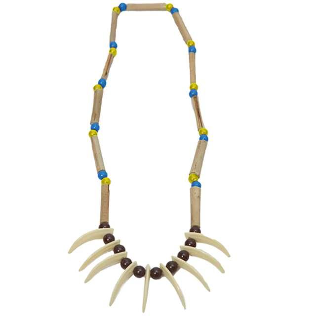 """Naszyjnik """"Indiański z zębami"""", niebiesko żółty, FYASA"""