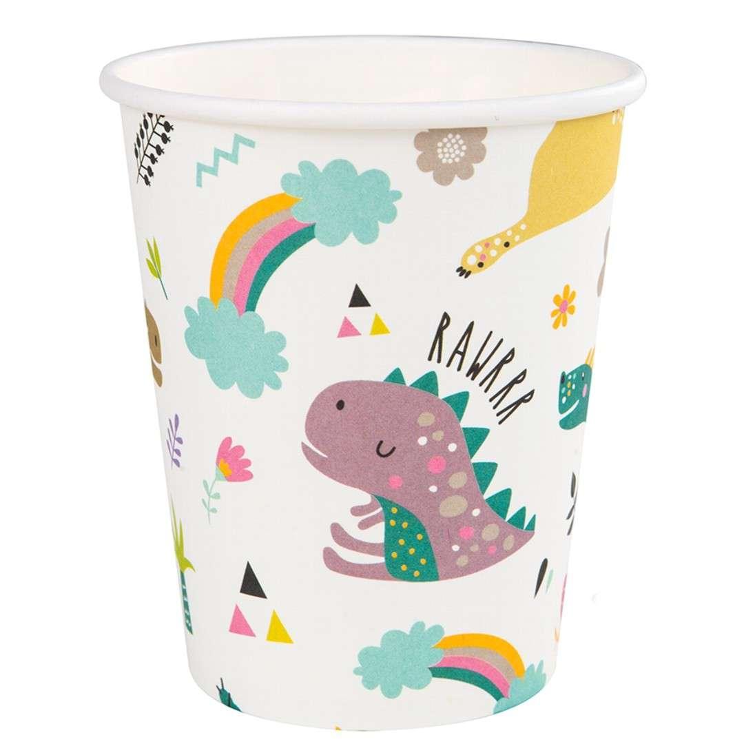 """Kubeczki papierowe """"Dinozaury"""", Czakos, 180 ml, 6 szt"""