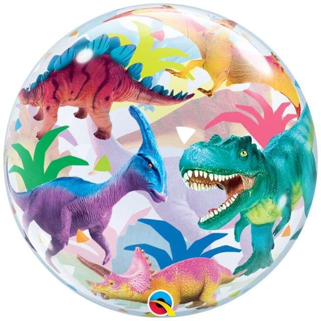 """Balon foliowy """"Bubble - Dinozaury"""", Qualatex, 22"""", ORB"""