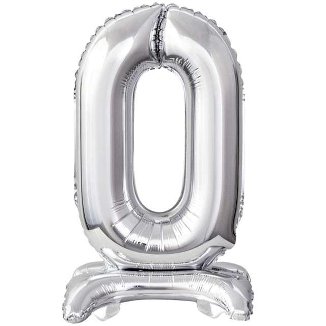 """Balon foliowy """"Cyfra 0 stojąca"""", srebrny, Godan, 15"""""""