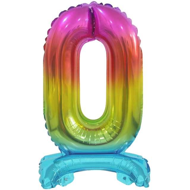 Balon foliowy Cyfra 0 stojąca tęczowy Godan 15