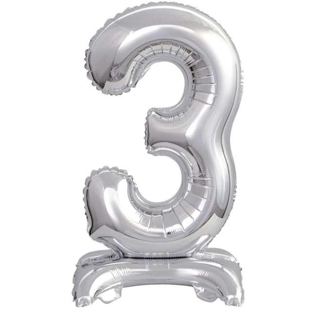"""Balon foliowy """"Cyfra 3 stojąca"""", srebrny, Godan, 15"""""""