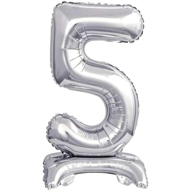 """Balon foliowy """"Cyfra 5 stojąca"""", srebrny, Godan, 15"""""""