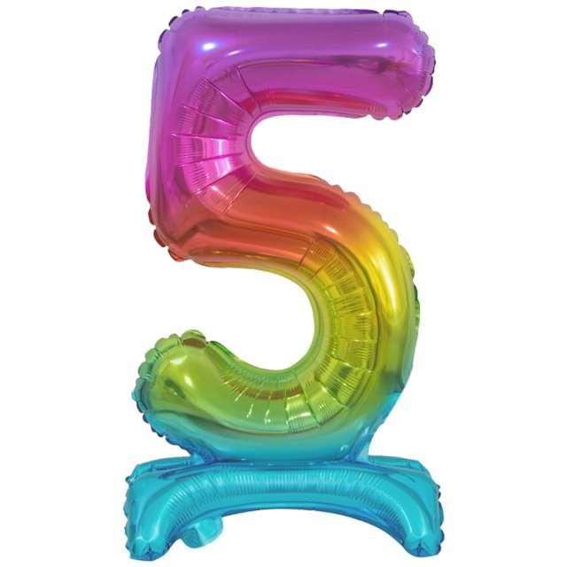 """Balon foliowy """"Cyfra 5 stojąca"""", tęczowy, Godan, 15"""""""