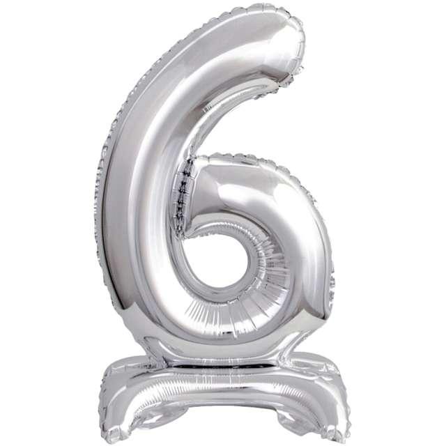 """Balon foliowy """"Cyfra 6 stojąca"""", srebrny, Godan, 15"""""""