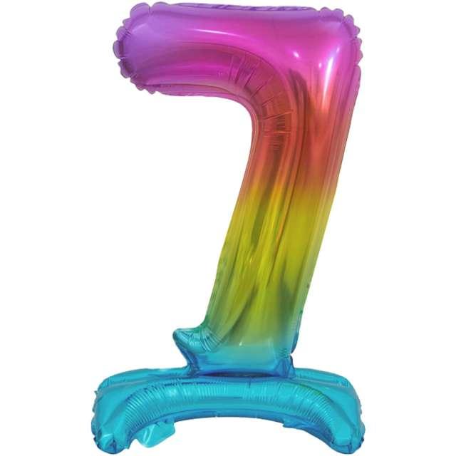 """Balon foliowy """"Cyfra 7 stojąca"""", tęczowy, Godan, 15"""""""