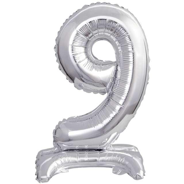 """Balon foliowy """"Cyfra 9 stojąca"""", srebrny, Godan, 15"""""""