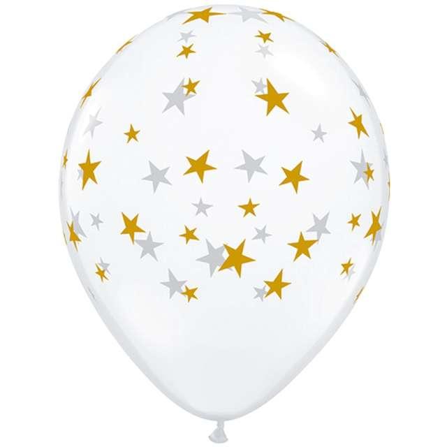 """Balony """"Gwiazdki złote"""", transparentne, Qualatex, 5"""", 100 szt."""