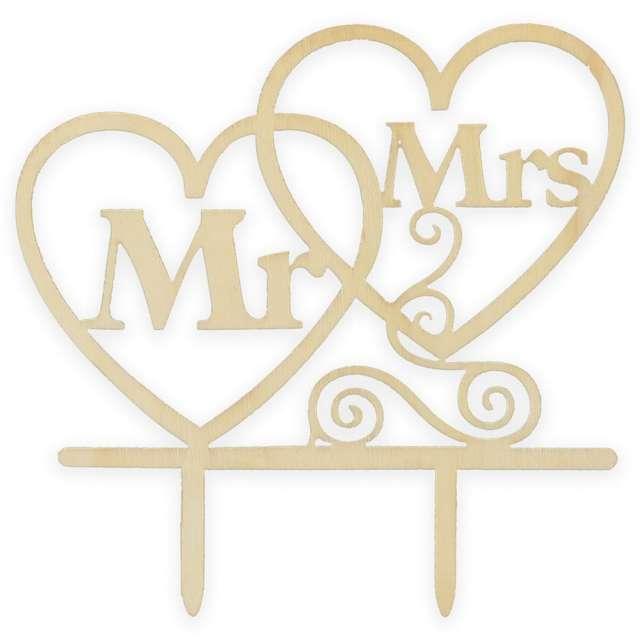 Dekoracja na tort Topper - Mr & Mrs drewno Godan
