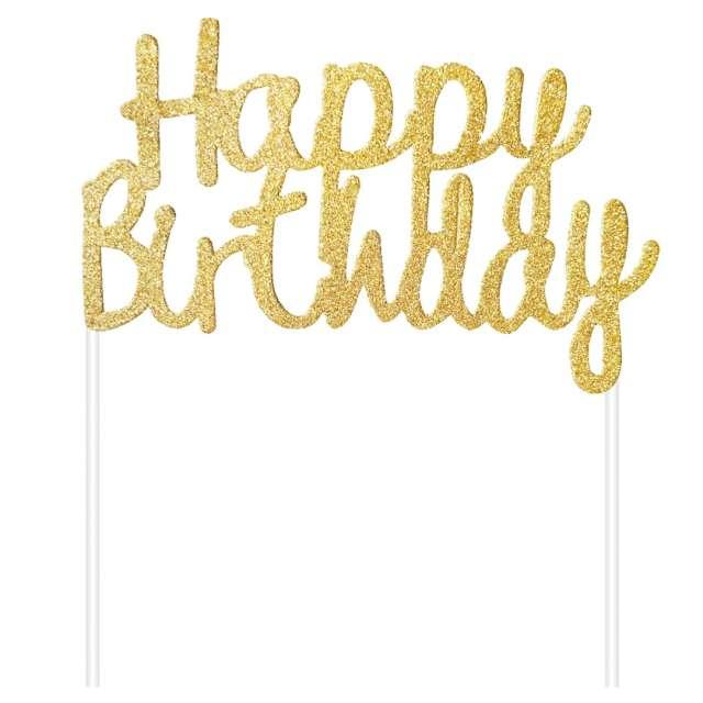 """Dekoracja tortu """"Topper - Happy Birthday"""", złota, Godan"""