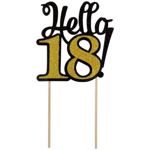 """Dekoracja na tort """"Hello 18!"""", czarno-złota, 19 cm"""