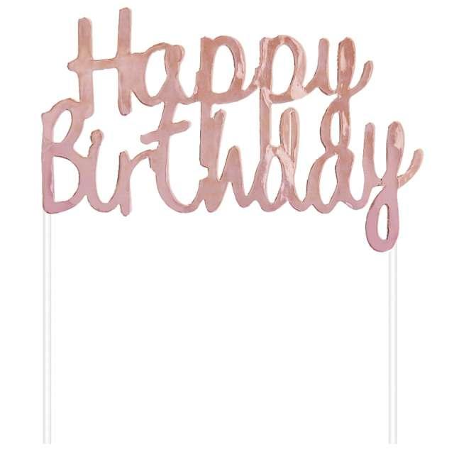 """Dekoracja tortu """"Topper - Happy Birthday"""", różowe złoto, Godan"""