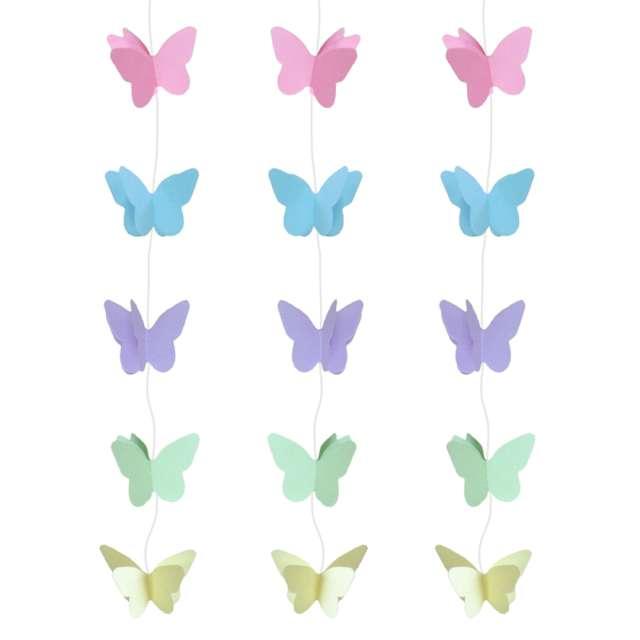 """Dekoracja wisząca """"Motylki Pastelowe"""", mix, Godan, 200 cm, 3 szt"""