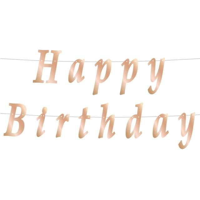 """Baner """"Happy Birthday - Stylizowany Metalik"""", różowe złoto, Godan, 200 x 11 cm"""