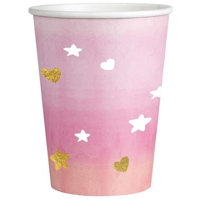 """Kubeczki papierowe """"Oh Baby Girl"""", różowe, Amscan, 250 ml, 8 szt"""