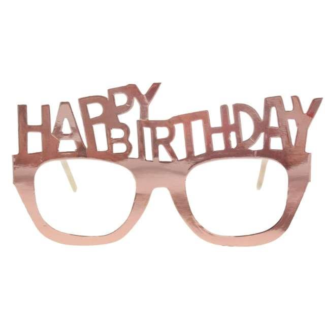 """Okulary papierowe """"Happy Birthday"""", różowe złoto, Godan, 4 szt"""