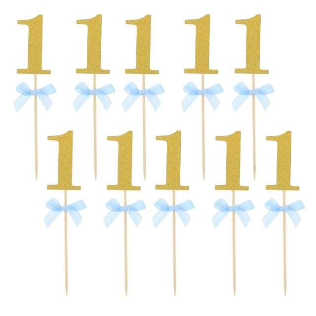 """Pikery """"Roczek - 1 Urodziny"""", niebieskie, Godan, 10 szt"""