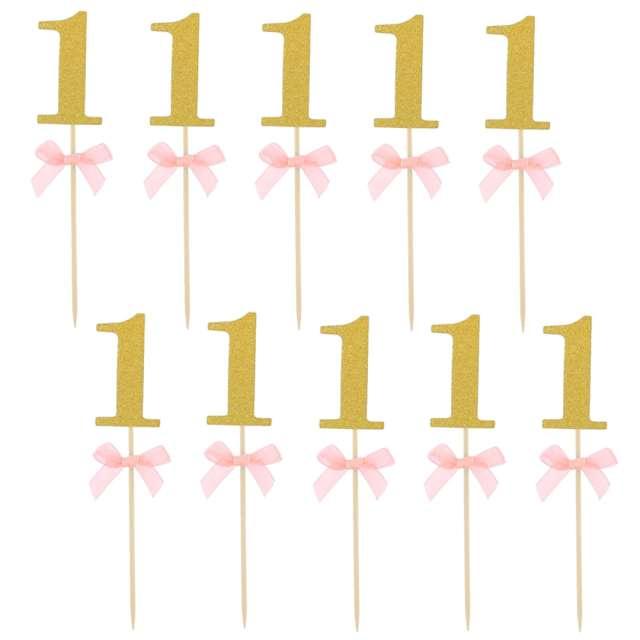 """Pikery """"Roczek - 1 Urodziny"""", różowe, Godan, 10 szt"""