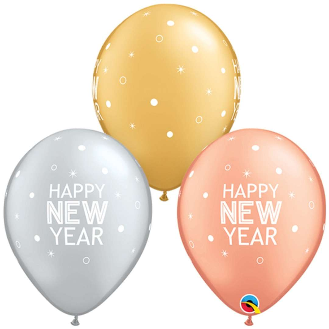 "Balony ""Happy new year"", mix, Qualatex, 11"", 25 szt"